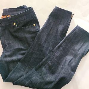 Tory burch ankle side zip cuffed jeans